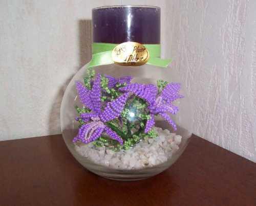 Цветочная ваза с бисером