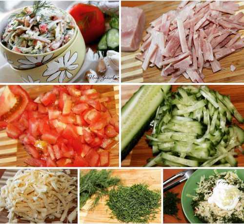 Рецепты салата с ветчиной и огурцами, секреты