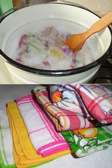Как отстирать кухонные полотенца и салфетки