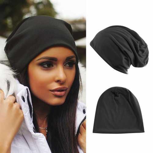 Модная женская черная шапка