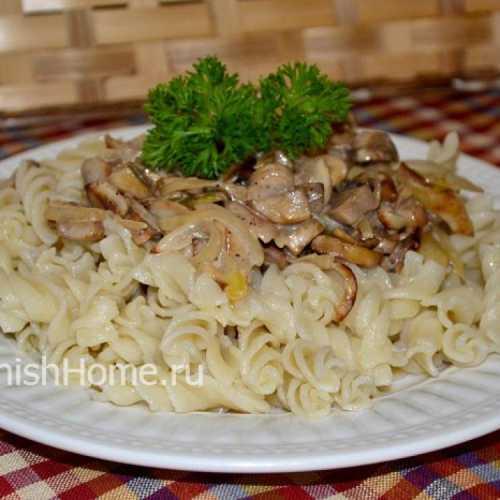 Рецепты макарон с грибами в сливочном соусе: